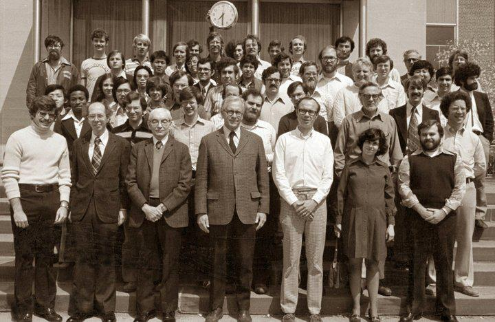 Princeton Chemical Engineering Grad-students, late 1970s. My thesis advisor is the tall fellow at center; I'm the bearded fellow at right looking the wrong way.