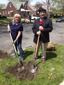 Robert E. Buxbaum and friend planting trees in Detroit. Arbor day, 2012.