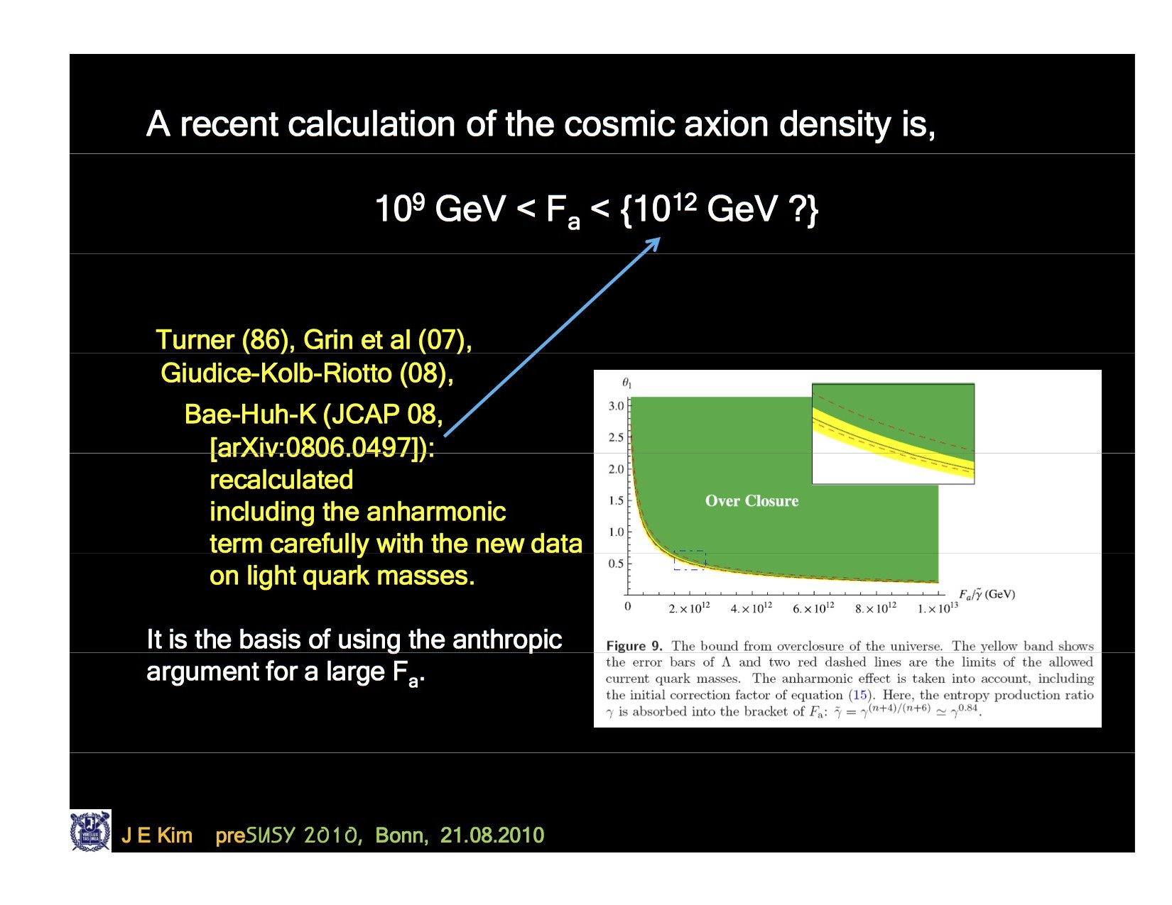 Mass of the Universe with Axions, no axions. Here is a plot from a recent SUSY talk (2010) http://susy10.uni-bonn.de/data/KimJEpreSUSY.pdf