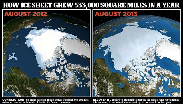 Arctic Ice August 2012-2013; both Taloyoak and Igloolik appear open this year.