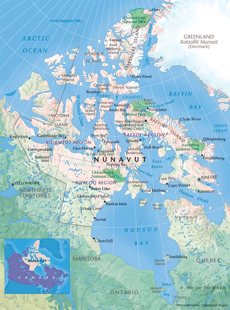 Map of Northern Canada showing cities and the Perry Channel, the current Northwest passage. A canal north of the Bootha Peninsula would seem worthwhile.