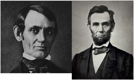 Lincoln the Whig had no beard -- he was the western representative of the party of Eastern elites. Lincoln the Republican grew whiskers. He was a log-cabin frontiersman, rail -splitter.