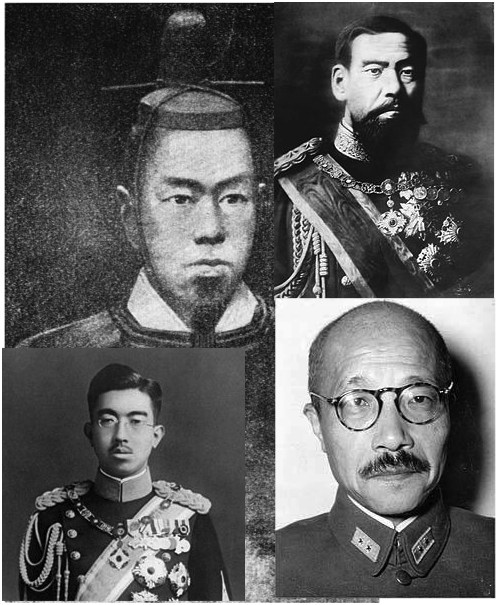 Emperor Akihito, center, had to open Japan; Emperor Meiji, upper right, a wild beard and terror who defeated China and Russia; Emperor Hirohito, bottom left, crafty mustache. Caveat Emperor. Tojo, bottom right, the man to lead the fight and pay the price.
