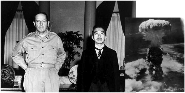 The war ends here. Hirohito, McArthur, and Mr A-Bomb. Hirohito now has a smaller stature and mustache. Tojo gets executed.