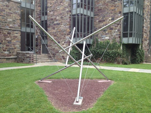 A Snelson-Fuller tensegrity sculpture in the graduate college courtyard at Princeton, where Steve and I got our PhDs