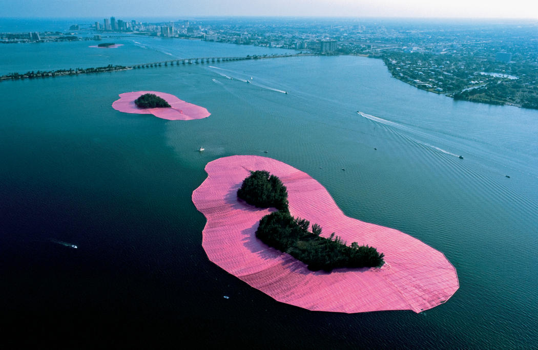 Christo's wrapped Islands. Islands near Miami Beach wrapped in pink (fuscha) plastic.