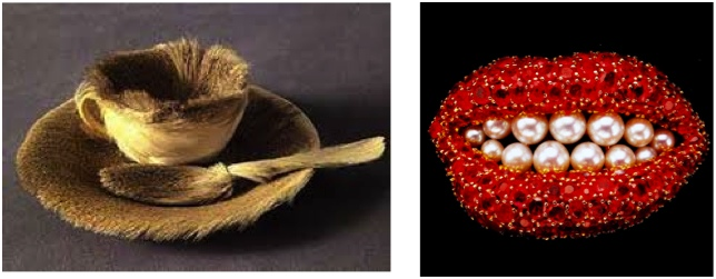 Duchap's tea cup (left), and Dali's ruby lips (right). Similar ideas treated as Dada or Surreal.