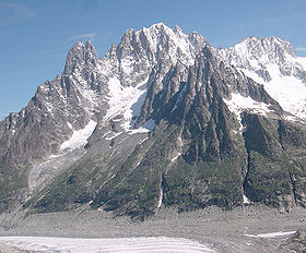 Les Droites Mountain, in the Alps, at the intersect of France Italy and Switzerland is 4000 m tall. The top is generally snow-covered.
