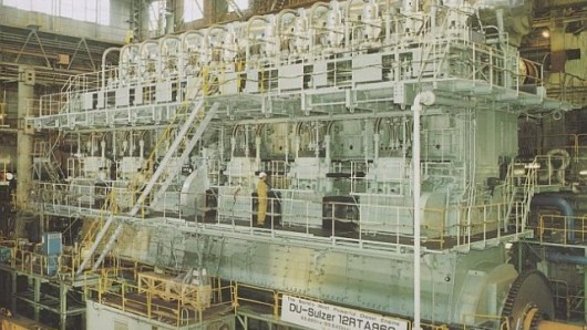 Ship-board diesel engine, 100 MW for a large container ship