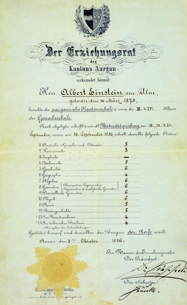 Einstein's high school diploma