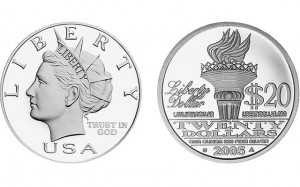 A liberty dollar. The crime is terrorism by uttering money -- saying that this coin should be used as $20 currency.