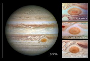 Jupiter's red spot has shrunk significantly. Here it is now. NASA