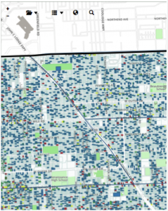 Detroit foreclosures near me. Blue is occupied homes, red is unoccupied, yellow unknown, and green is destroyed homes or vacant, foreclosed land.