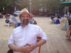 The author, Robert Buxbaum, enjoys a day at an artificial beach in central Detroit.
