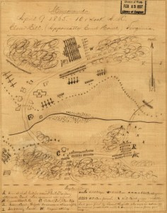 Map of the troop arrangements April 9, 1865. Checkmate. Lee's forces, x or + are out numbered, out gunned and surrounded. The end.