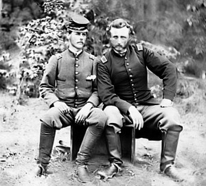 George A. Custer with captured confederate prisoner. Custer was a man of action but not of cruelty.