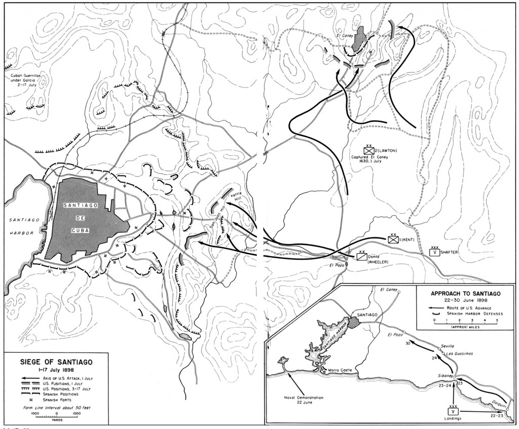 Map of the Attack on Kettle Hill and San Juan Hill in the Spanish American War.