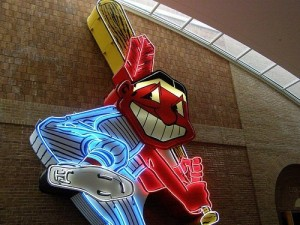 Chief Wahoo, symbol of the Cleveland Indians. Still protected logo --looks more racist than the Redskin to me.