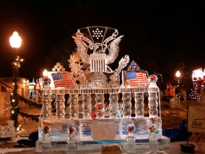 Plymouth, MI Ice sculpture -- the ice is fairly clear, like swimming pool water