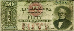 Edward Everett on the Fifty dollar silver certificate.