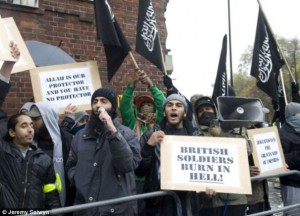 """Muslims against Crusaders"" chanting during the two minutes of Remembrance Day (Armistice Day) silence, 2010."
