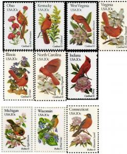 state bird stamps; robin cardinal