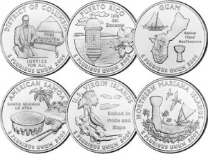 Coins celebrating our colonial territories.