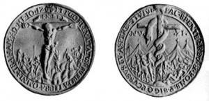 German coin, 1500s showing Jesus, a snake and cross on one side. Christ on the other. Suggests two sides of the same.