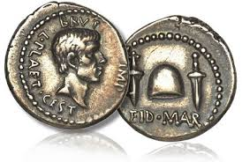 """Brutus on the face side of an Eids March coin, with two daggers and the legend """"Eid Mar"""" on the obverse. Clearly the conspirators were proud of their act"""