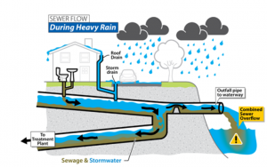 Combined sewer system showing an rain-induced overflow, a CSO.