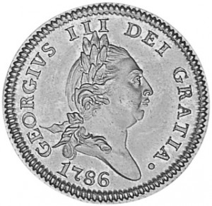 A George III coin, engrailed for decoration and to keep people from carving off silver.