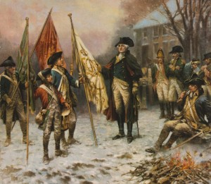 Washington at Trenton with captured regimental flag. December 25, 1776. Peale.