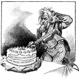 A cartoon from Puck 1911. Do you cut tariffs, and if so how much. High tariffs provide high wages and expensive prices for the consumer. Low tariffs lead to cheap products and low wages. Uncle Sam is confused.