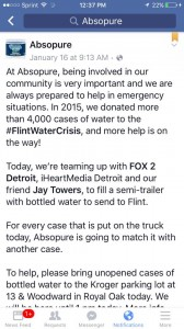 Absopure advertises that I t will match case-for-case water donations to Flint. Isn't that white of them.
