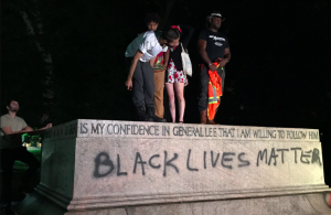 The remnant of Baltimore's Lee- Jackson statue, showing the old inscription and the new.