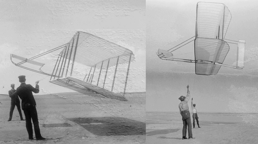 The Wright brothers testing their gliders in 1901 (left) and 1902 (right). The angle of the tether reflects the dramatic improvement in the lift-to-drag ratio.